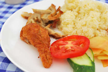 Healthy Chinese style vegetarian chicken rice with meat and salad. Suitable for concepts such as diet and nutrition, healthy eating and healthy lifestyle, and food and beverage.
