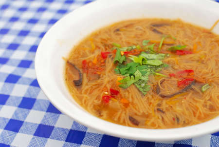 sumptuous: Sumptuous looking Chinese style noodles with mushrooms and vegetables. Suitable for concepts such as diet and nutrition, healthy eating and healthy lifestyle, and food and beverage.