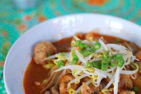 sumptuous: Sumptuous looking Thai style tom yam noodles with mushrooms, mock meat and vegetables. Suitable for concepts such as diet and nutrition, healthy lifestyle, and food and beverage.