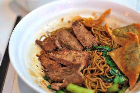 sumptuous: Sumptuous looking Chinese style vegetarian noodles with juicy mock meat and vegetables. Suitable for concepts such as diet and nutrition, healthy lifestyle, and food and beverage.