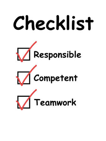 quality of life: Checklist used in interview and evaluation of employees or workers. With checkboxes ticked. For concepts such as business and work life, service and satisfaction, and quality control tests. Stock Photo