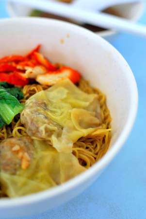Sumptuous looking oriental style vegetarian noodles with juicy pork dumplings and healthy vegetables. Suitable for concepts such as diet and nutrition, healthy lifestyle, and food and beverage.