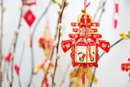 Closeup of Chinese Lunar New Year decoration on tree signifying the spring season. For New Year objects, celebration and festival, and culture and lifestyle concepts.
