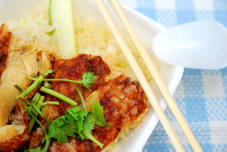Chinese style vegetarian chicken rice delicacy. Suitable for concepts such as diet and nutrition, healthy eating and healthy lifestyle, and food and beverage. photo