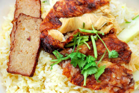 Vegetarian chicken and roasted pork rice. Suitable for concepts such as diet and nutrition, healthy eating and healthy lifestyle, and food and beverage. photo