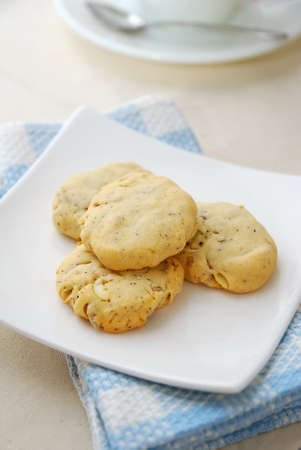 Healthy cookies filled with nuts for a healthy and nutritious breakfast. Concepts such as food and beverage, diet and nutrition, and healthy lifestyle. photo
