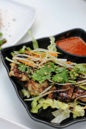 Exotic Asian vegetarian deep fried sweet and sour cuisine. Suitable for food and beverage, healthy lifestyle, and diet and nutrition. photo
