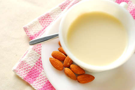 Almond drink as breakfast beverage. For food and beverage, and diet and nutrition concepts.