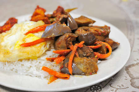 Simple rice set meal with vegetables and egg. For concepts such as food and beverage, healthy eating, and diet and nutrition. photo