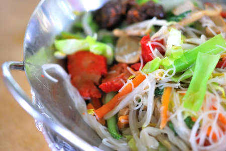 Vegetarian Asian bee hoon with healthy vegetables. Suitable for concepts such as diet and nutrition, healthy lifestyle, and food and beverage. photo