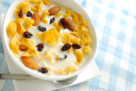 Healthy cereal in soya bean milk for a nutritious and healthy breakfast or meal. Also for healthy eating and lifestyle, diet and nutrition, and food and beverage concepts. photo