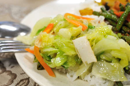 Healthy vegetarian set meal of rice and vegetables. Suitable for concepts such as diet and nutrition, healthy lifestyle, and food and beverage. photo