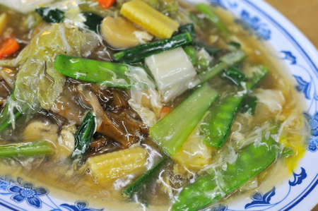 Asian vegetarian cuisine cooked with healthy vegetables. Suitable for concepts such as diet and nutrition, healthy lifestyle, and food and beverage. photo