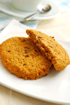Afternoon tea cookies for snack. Concepts such as food and beverage, diet and nutrition, and healthy lifestyle. photo