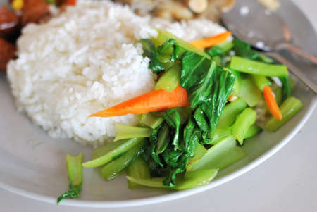 Chinese simple vegetable set meal with rice. Suitable for concepts such as diet and nutrition, healthy lifestyle, and food and beverage. photo
