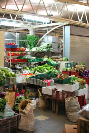 Vegetable stall at a wet market. Concepts such as food and beverage, fruits and vegetables, healthy lifestyle and cooking ingredients.