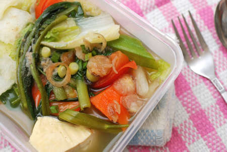 Takeout meal with healthy vegetable variety. Suitable for concepts such as diet and nutrition, healthy lifestyle, and food and beverage. photo