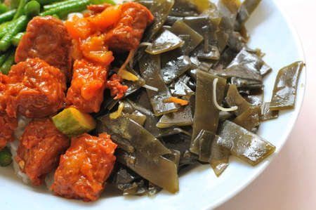 sumptuous: Sumptuous looking vegetarian mock meat and seaweed cuisine. Suitable for concepts such as diet and nutrition, healthy lifestyle, and food and beverage.