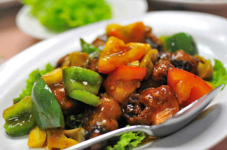 Colorful Asian vegetarian sweet and sour pork and mixed vegetable delicacy. Stock Photo - 9389334
