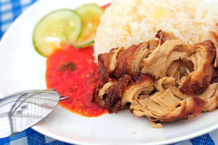 Tasty chicken rice delicacy made from vegetarian ingredients. Chicken rice is a local delicacy of Singapore. photo