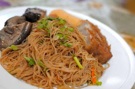 Asian style bee hoon prepared with healthy vegetarian ingredients. photo