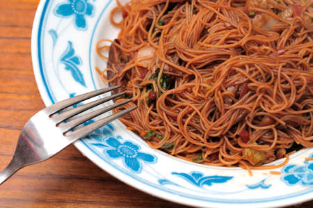 hoon: Asian style bee hoon delicacy prepared with mix vegetables for a healthy diet.