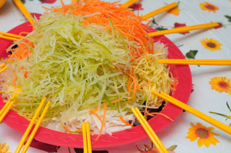 Unique Chinese New Year delicacy prepared with healthy raw vegetables of various kinds. Popular during the new year as a symbol of good luck.