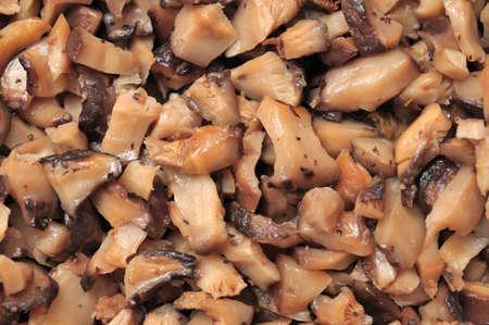 Closeup shot of cut shitake mushrooms as food ingredients. photo