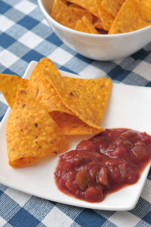 nacho: Few nacho chips with red tomato sauce served on white plate.