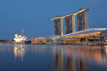 Singapore, 31 Dec 2011 - Night view of Marina Bay Sands resort, the new icon of Singapores skyline.