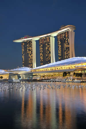 Singapore, 31 Dec 2011 - Night view of the unique architecture of Marina Bay Sands resort hotels in Singapore. Publikacyjne