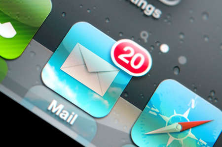 Macro shot of email icon on lcd display. Stock Photo