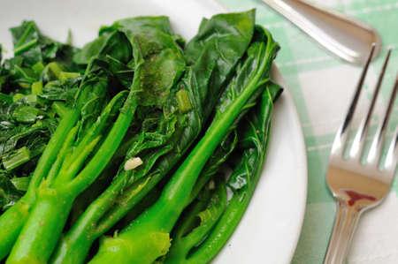 green vegetables: Simple and healthy stir fried Oriental green vegetables.