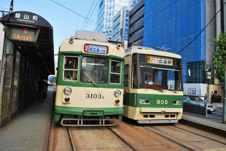 Traditional electrical trams in Hiroshima, Japan. It is the main form of transport in the region. Taken on September 5, 2008.