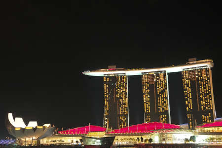 lightup: Singapore, 31 Dec 2011 - Marina Bay Sands resort, the newest attraction in Singapore.