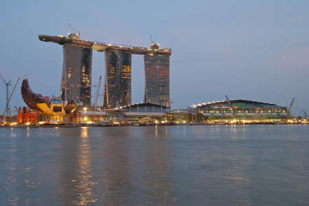 SINGAPORE - APRIL 14: Completed Marina Bay Sands resorts taken on April 14, 2010. This is the worlds first integrated resort developed by Las Vegas Sands and is the most expensive casino.