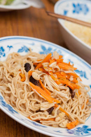 Chinese traditional jade noodles commonly eaten to signify prosperity and longevity.