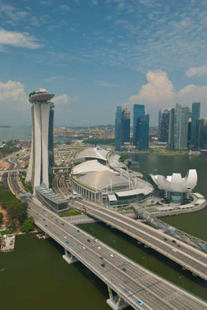 SINGAPORE - JUNE 12: Breathtaking view of the newly completed Marina Bay Sands resort, the most expensive ever, taken on June 12, 2011 in Singapore. Stock Photo - 10678231