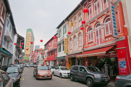 Street in Chinatown with old and traditional shophouse architecture preserved from the colonial days. Publikacyjne