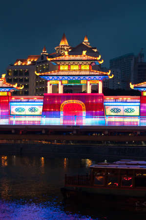 lightup: Night view of colorful lightup of lantern building on Mooncake Festival. Editorial