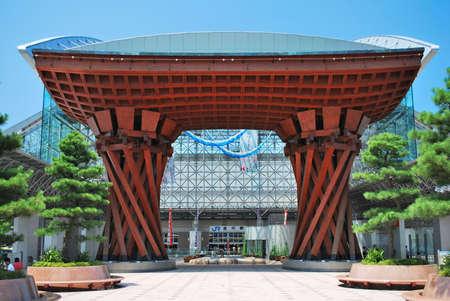 ishikawa: Majestic monument at the entrance of Kanazawa train station in Ishikawa, Japan. Editorial