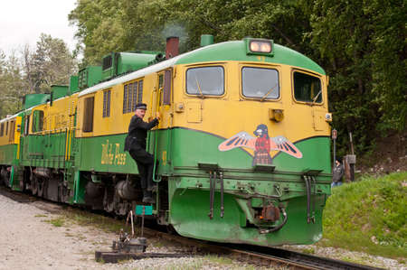 gold rush: Historical train used during the Klondike Gold Rush for the White Pass and Yukon Route.
