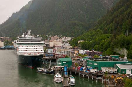 Huge cruise ship parked at Juneau port in Alaska.