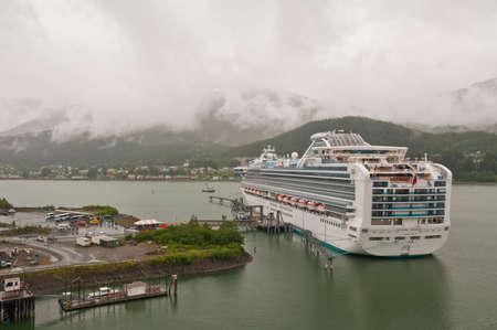 Passenger cruise ship Sapphire Princess anchored at harbor at Juneau, Alaska.