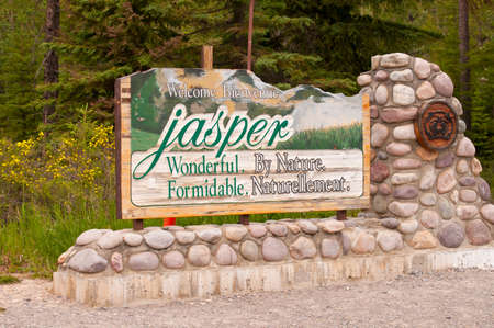 Welcome sign at entrance to Jasper National Park in Canada. Stock Photo - 11201027