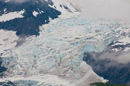 ice sheet: Closeup shot of huge glaciers in mountain valleys showing texture and detail.