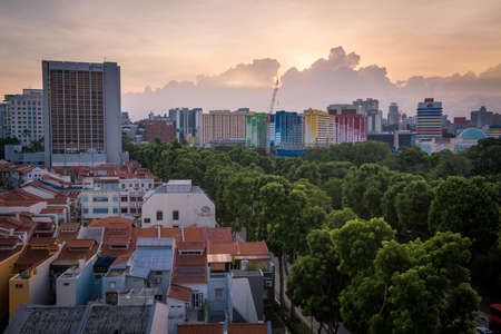 local landmark: Singapore, 12 January 2016: Sunset view of famous local landmark Rochor Centre set to be demolished in 2016. Editorial