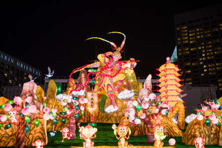 customs and celebrations: Singapore, 09 Feb 2016: Chinese New Year Monkey God decoration at River Hongbao at Marina Bay. The River Hongbao has been on Singapores festive calendar every year since 1986. Editorial
