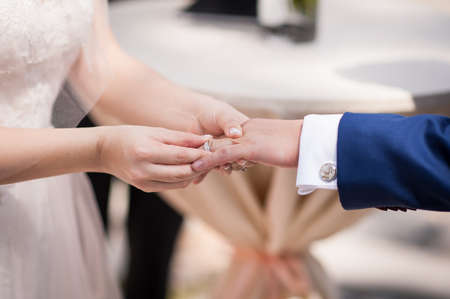 Wedding couple exchanging vows and rings.