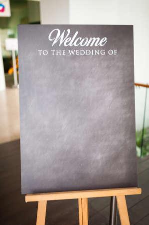 venue: Blackboard for wedding announcements at wedding venue.